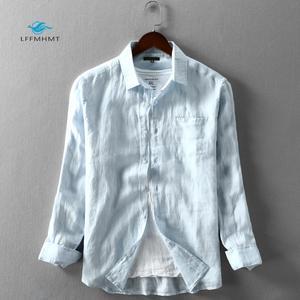 Image 1 - 男性春と秋のファッションブランド日本スタイル無地ブルーリネン長袖シャツ男性カジュアル薄型ポケットシャツ