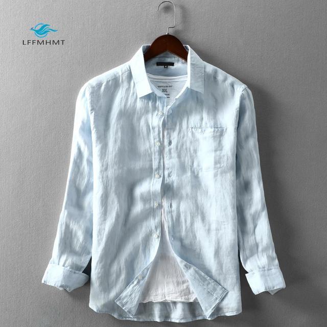 男性春と秋のファッションブランド日本スタイル無地ブルーリネン長袖シャツ男性カジュアル薄型ポケットシャツ