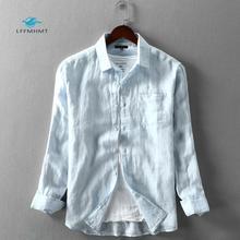 Homens primavera e outono marca de moda estilo japão vintage cor sólida azul linho manga longa camisa masculina casual fino bolso camisas