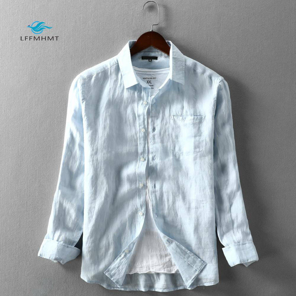 Men Spring And Autumn Fashion Brand Japan Style Vintage Solid Color Blue Linen Long Sleeve Shirt Male Casual Thin Pocket Shirts