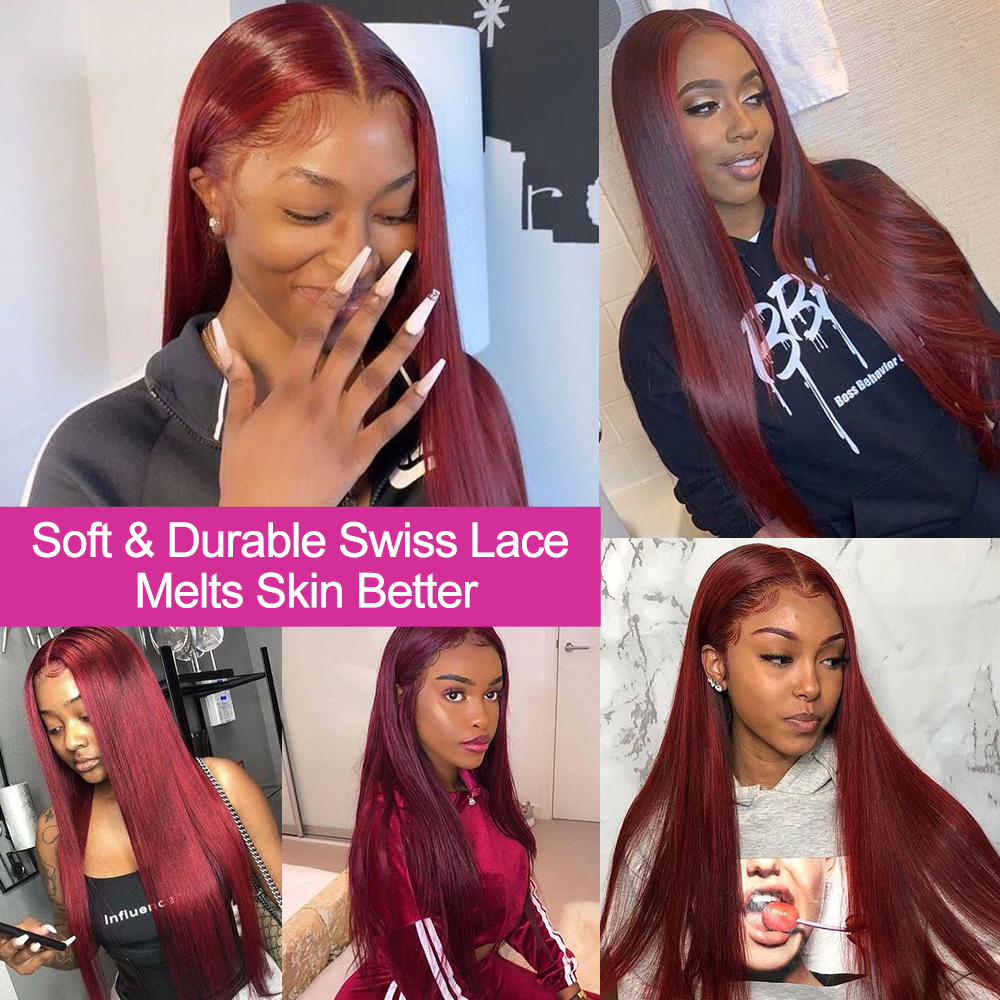 Nadula Hair #99J Burgundy Lace Front Wigs 13X4 Straight Lace Front  Wigs Pre-Plucked Red Burgundy Lace Front Wigs 3