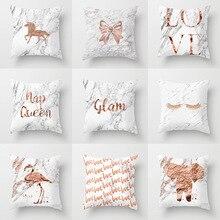 I Love You Monogram Lash Pillow Case 45*45 Nordic Unicorn Elephant Flamingo Print Cushion Cover Rose Gold Letter Home Decor