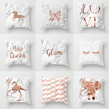 I Love You Monogram Lash Pillow Case 45*45 Nordic Unicorn Elephant Flamingo Print Cushion Cover Rose Gold Letter Home Decor(China)