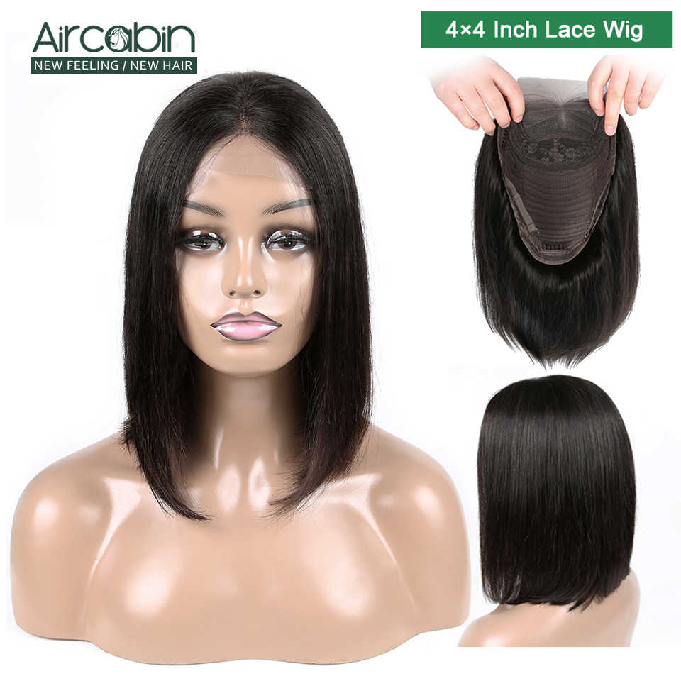 "Aircabin 4x4 Short Lace Wig Human Hair Wigs 8""-16"" Bob Lace Closure Wigs Peruvian Hair Bob Wig For Black Women Hair Non Remy"