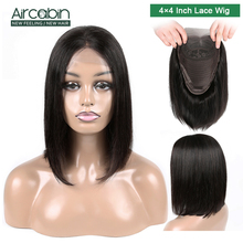 Aircabin 4x4 Short Lace Wig Human Hair Wigs 8-16 Bob Closure Peruvian For Black Women Non Remy