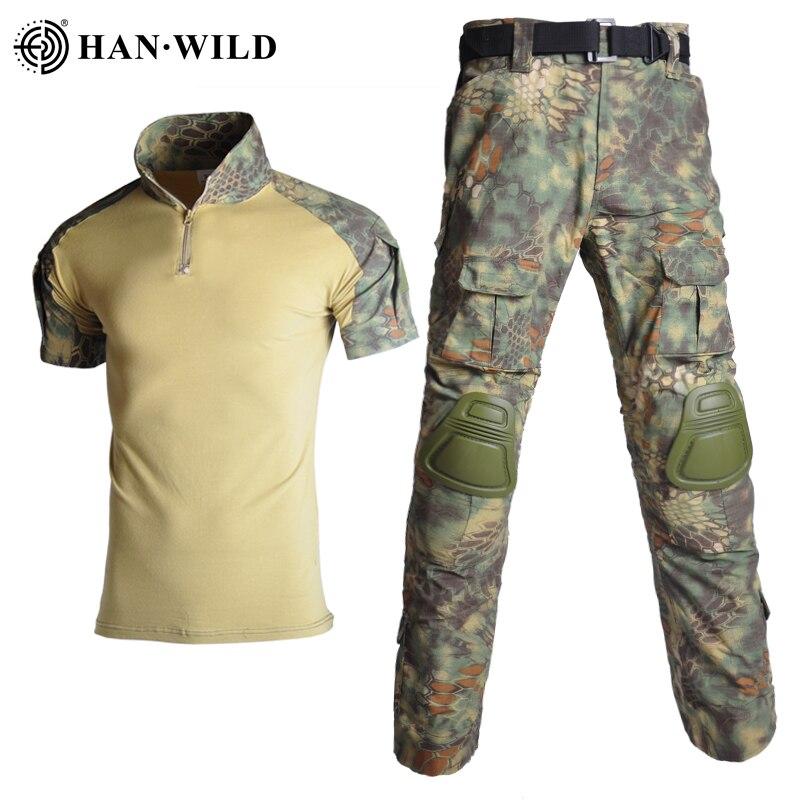Outdoor SuitsAirsoft Paintball Kleidung Taktische Shirt Military Kleidung Uniform Anzüge Camouflage Jagd Hemd Knie Pads