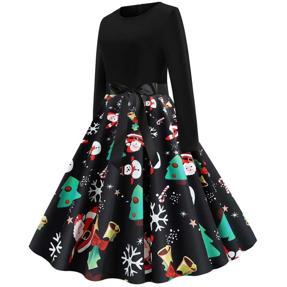 Black Print Christmas Dress Women Elegant Vintage Autumn Winter Long Sleeve Plus Size Casual Party Dresses Vestidos Robe Femme 2