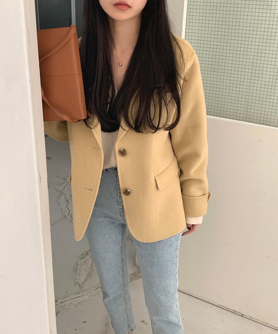 H57144064f5d6489f83d9b96d9724e9422 - Winter Korean Revers Collar Solid Woolen Short Coat
