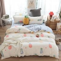 Semplice ananas 3/4pcs copripiumino di qualità + federe lenzuolo piatto Design biancheria da letto copripiumino per set camera da letto King