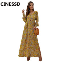 Женское пляжное платье с цветочным принтом cinessd богемное