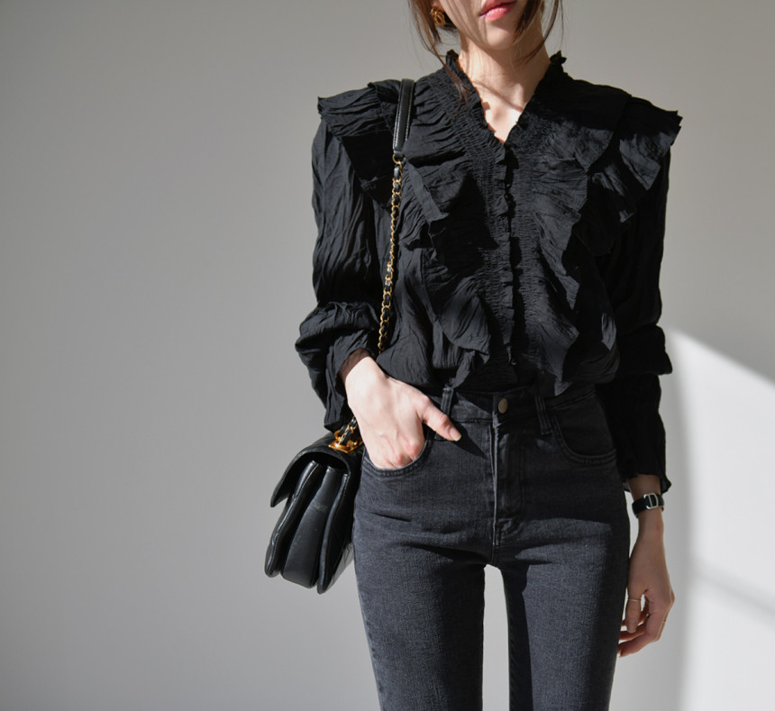 H57145836e94942ca9fea40d4300c6e130 - Spring / Autumn V-Neck Long Sleeves Ruffles Pleated Solid Blouse