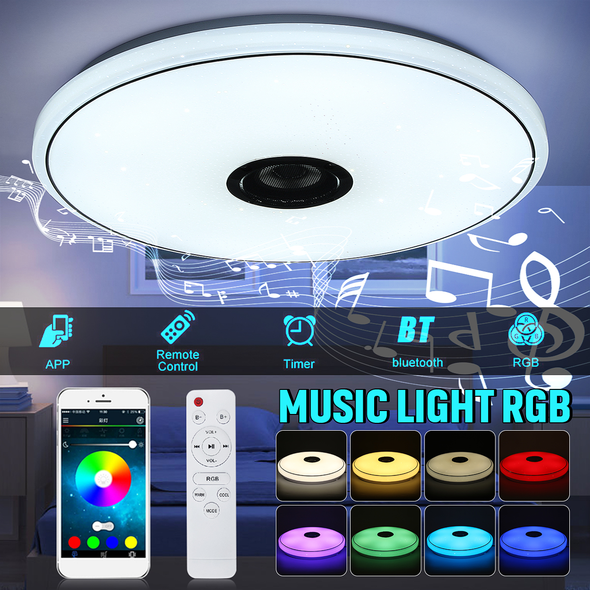 36W/60W 6500K RGB LED Ceiling Lights Modern Music Lamp Living Room Bedroom Kitchen Lighting Fixture Surface Mount Remote Control