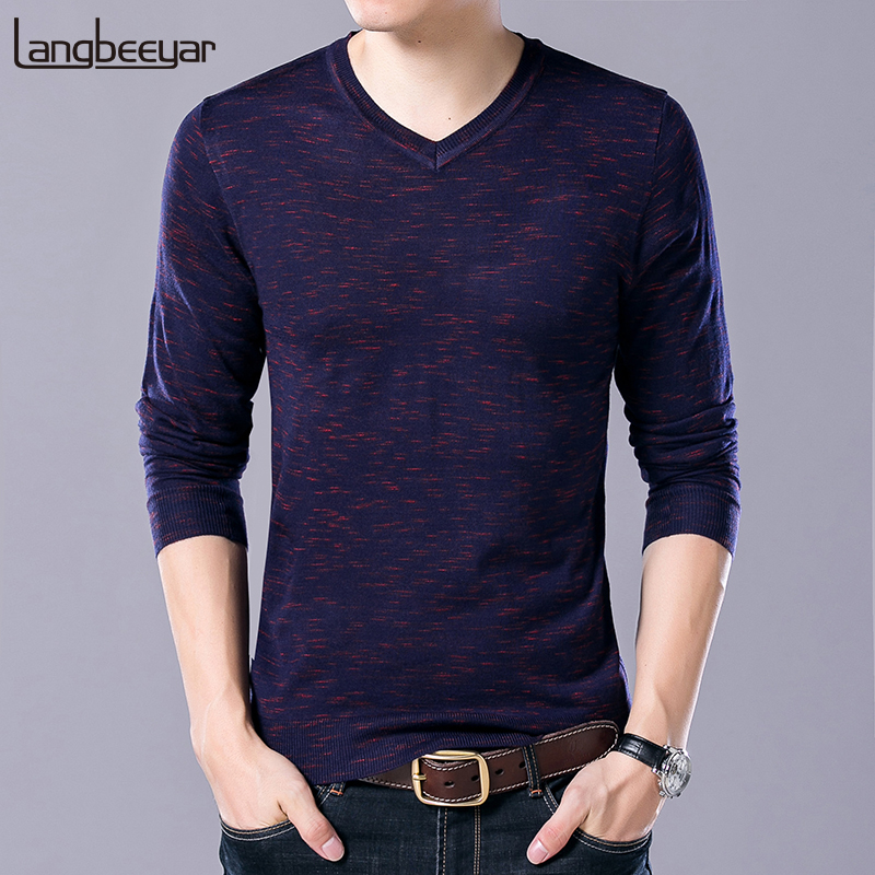 New Fashion Brand Sweater For Mens Pullover V Neck Slim Fit Jumpers Knitred Solid Color Autumn Korean Style Casual Men Clothes