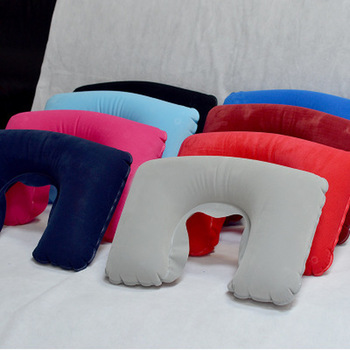 1pcs Portable U Shaped Pillow Inflatable Neck Car Head Rest Air Cushion Comfortable Sleep Pillows Travel Accessories image
