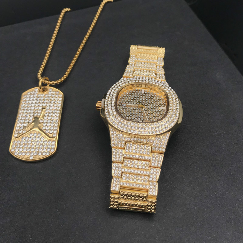 Luxury Gold Hip Hop Jewelry Stylish Watch & Necklace Combo Set Watch Men Hip Hop Necklace Chain Ice Out Cuban Watch For Men