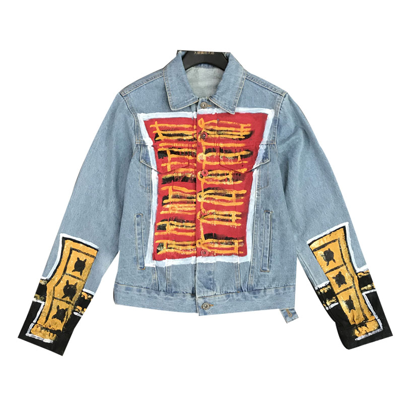 Nouveau mode chinois noeud rue Graffiti simple rangée bouton jean manteau court - 5