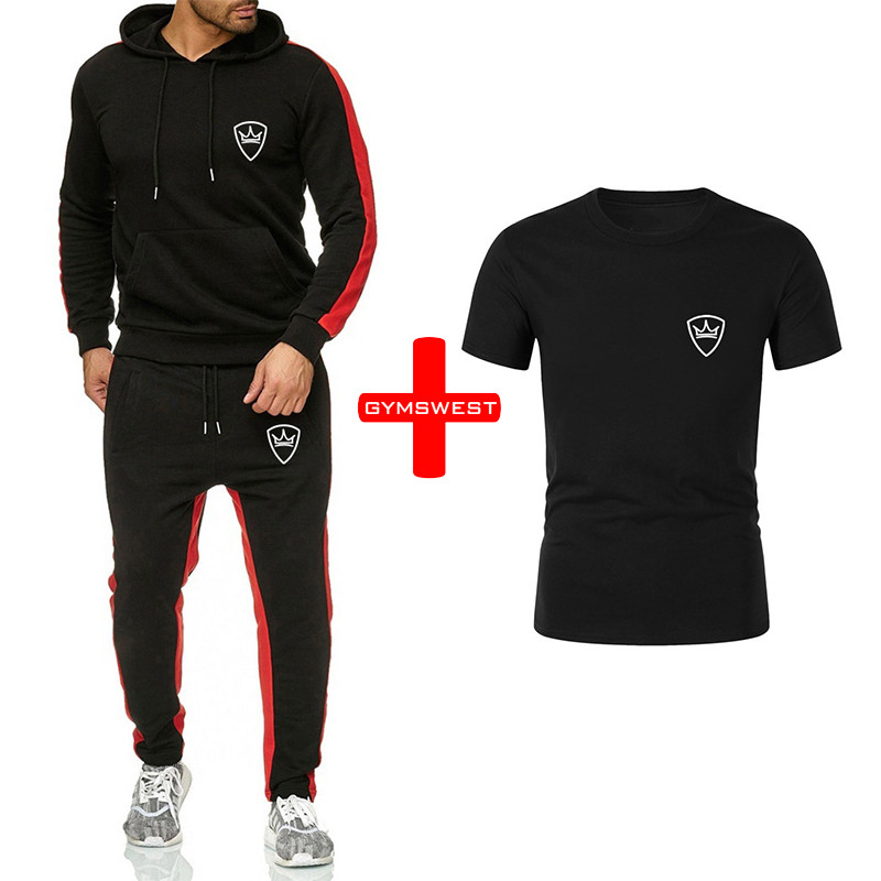Fashion Classic Brand Casual Sports Suit Hooded Sweater Jacket Jogging Sports Pants Short-sleeved T-shirt 3 Sets Of Men's Printi