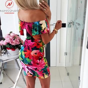 Women Bodycon Dress Patchwork Design Off Shoulder Short Sleeve Flower Print Mini Dress Lady Summer Slim Party Streetwear Dress 2