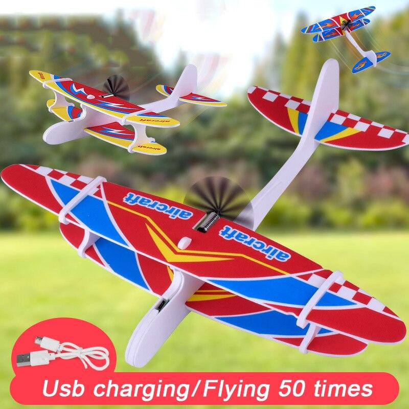 Jouets pour enfants, bricolage avion assemblé aile fixe USB en mousse EPP Durable lancement extérieur, condensateur d'avion, planeur, jouets 1