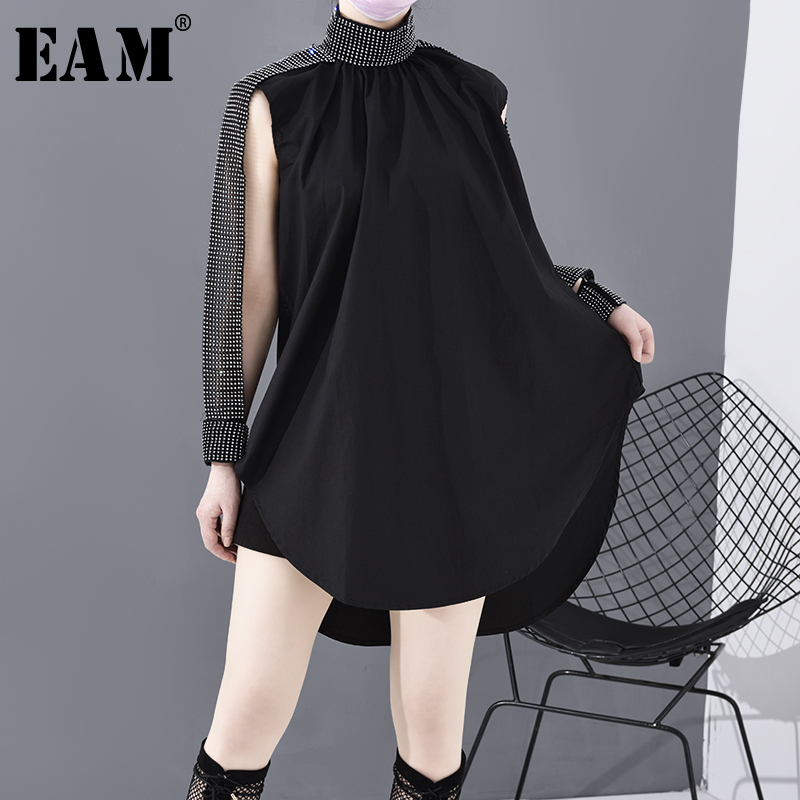 [EAM] Women Black Rhinestone Hollow Out Big Size Blouse New Lapel Long Sleeve Loose Fit Shirt Fashion Spring Autumn 2020  JQ514