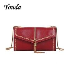 Youda 2019 New Fashion Simple Literary Tassel Shoulder Bag Classic Original Retro Chain Handbag Leisure Solid Color Packet