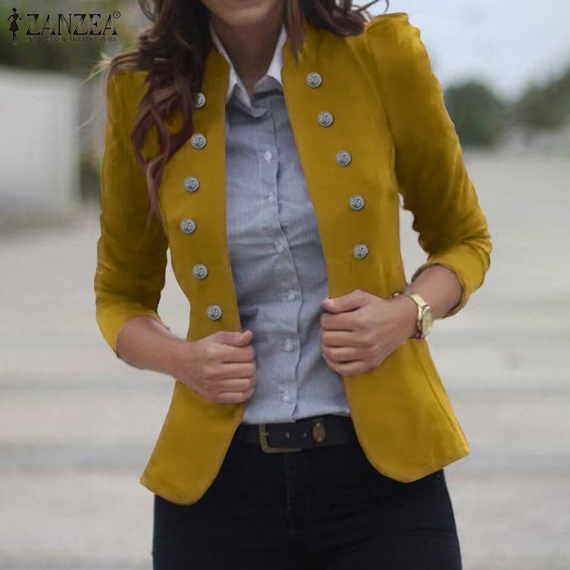 ZANZEA 2020 Fashion Women's Autumn Coats Casual Solid Buttons Jackets Long Sleeve Outwear Vintage Loose Stand Collar Overcoats