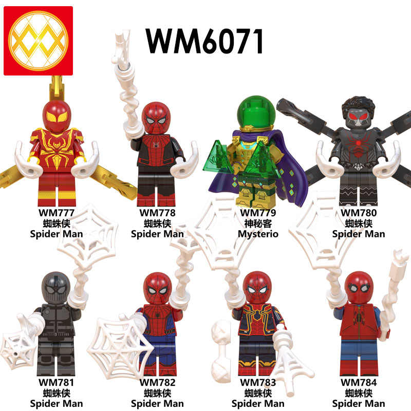 Free Shipping WM6071 Spider Man Far From Home  Super Heroes Mysterio Spiderman Noir Gwenom Building Blocks Toys For Children