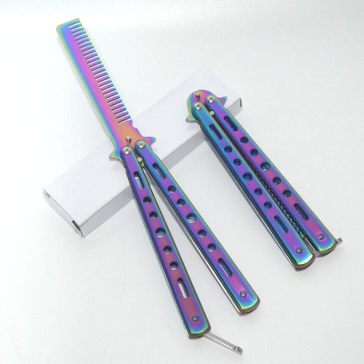 Бабочка волосы кистью, ножом гребень нержавеющая тренировочный расческа для волос борода & щетки для усов для парикмахерских инструментов
