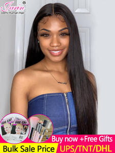 Wig Closure Human-Hair-Wigs Remy-Jarin 7x7-Lace Straight High-Density with Pre-Plucked