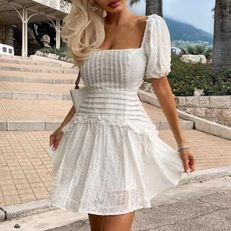 נשים אלגנטי לבן קצר המפלגה שמלת אופנה סקסי ללא משענת צלב תחרה עד מיני שמלת נקבה מנוקדת לפרוע קפלים Vestidos