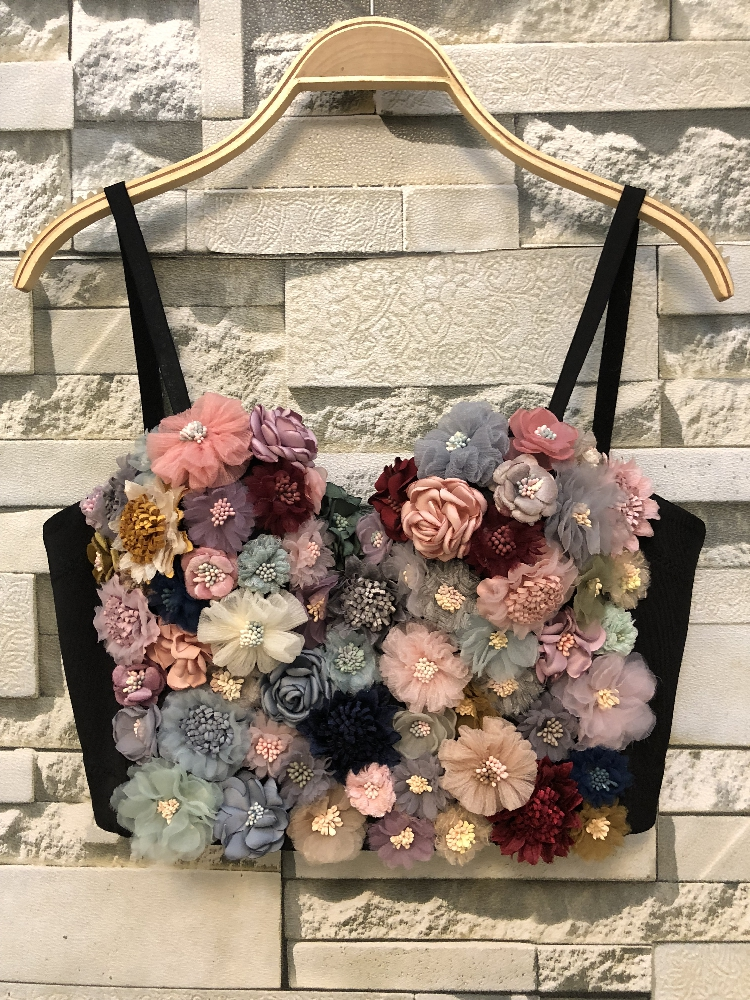 spaghetti strap bustier cute halter floral top Bodice Vest Tops corset sexy outfits Wear crop Camisole women 2020 fashion