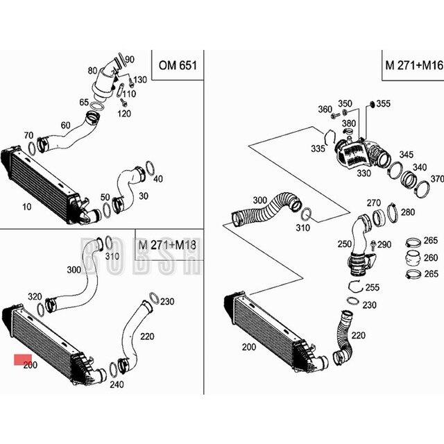 Refroidisseur dair de Charge de voiture 2010-2011mer dec esb enzC220 C320 C350 C180 C230 C300 GL K320 W204 ensemble refroidisseur intermédiaire Turbo radiateur