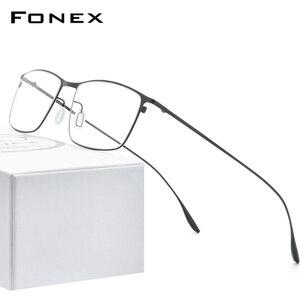 FONEX Titanium Alloy Eyeglasses Frame Men Square Myopia Prescription Glasses Frame 2020 New Full Optical Korean Eyewear 8105