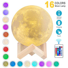 3D Print Moon Lamp Rechargeable 16 Colors LED Night Light 3D Light Touch Moon Lamp Children's Lights Night Lamp for Home