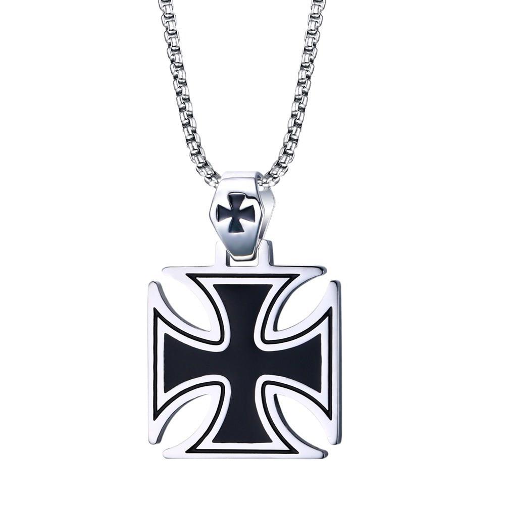 Fashion Cross Men's Necklace Vintage Knights Templar Iron Pendant Necklace Biker Maltese Male Jewelry 24Inch Chain Link