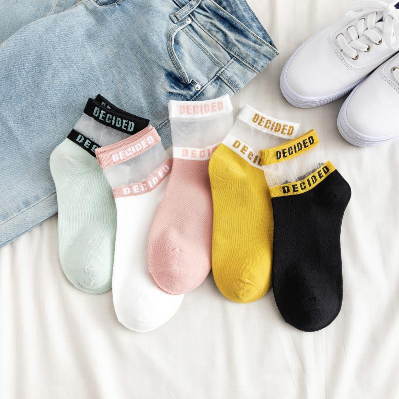 1 Pair Fashion Korean Style Women Cotton Silk Short Socks Bright Color Letters Lace Casual Breathable Socks
