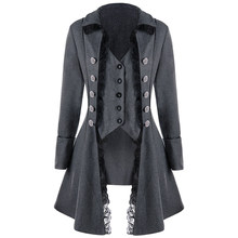 Women Coat Collar Victorian Fashion Plus Size Long Sleeves Trench Tops Plain Medieval(China)