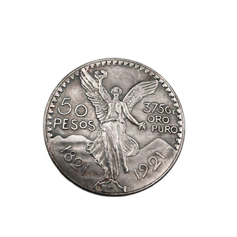 Мексиканский монеты 1821 латунь покрытая серебром 50 песо Ангел Юбилейные монеты Орел Свобода коллекция монет для украшения дома и офиса