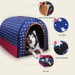 Image 2 - Warm Dog House Print Stars Soft Foldable Pet dogs bed For Puppy large medium Travelling Portable Kennel Mat Cat bed Pet Supplies