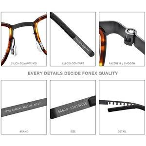 Image 4 - FONEX خلات سبائك العين إطارات النظارات للرجال مربع قصر النظر وصفة طبية البصرية العين إطارات النظارات 2020 بدون مسامير نظارات 98629