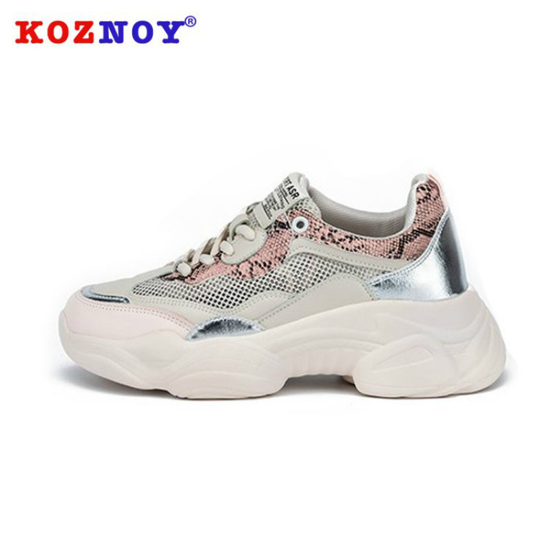 Koznoy Sneakers Women Autumn Dropshipping Cotton Shoes Spring Lace Mesh Flat Bottom Fashion Mixed Colors Breathable Women Shoes in Women 39 s Vulcanize Shoes from Shoes
