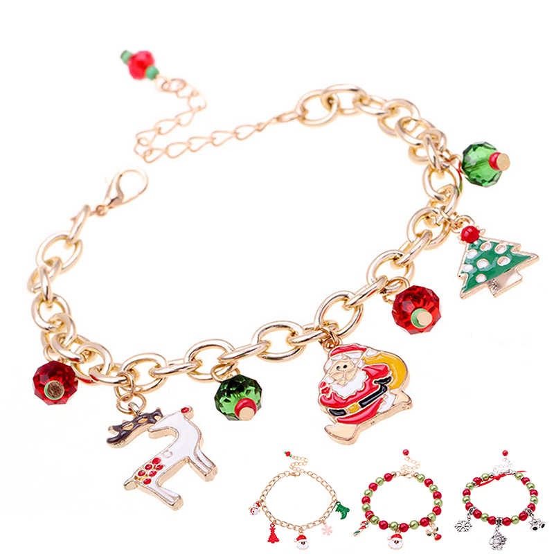 Christmas Charm Bracelet Santa Claus Xmas Tree Pendant Christmas Decorations for Home Noel Navidad 2019 Christmas Ornaments Gift