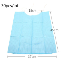 30pcs Medical Disposable Bib Neckerchief Dental Napkin Blue Paper Scarf Towels Bibs Dentistry Materials