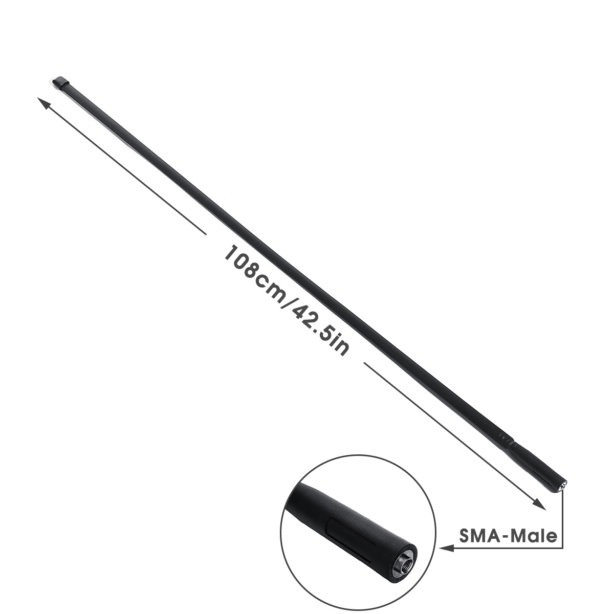 108cm/42.5in SMA-Male Dual Band Walkie Talkie Foldable CS Tactical Antenna For Baofeng UV-5R UV-82