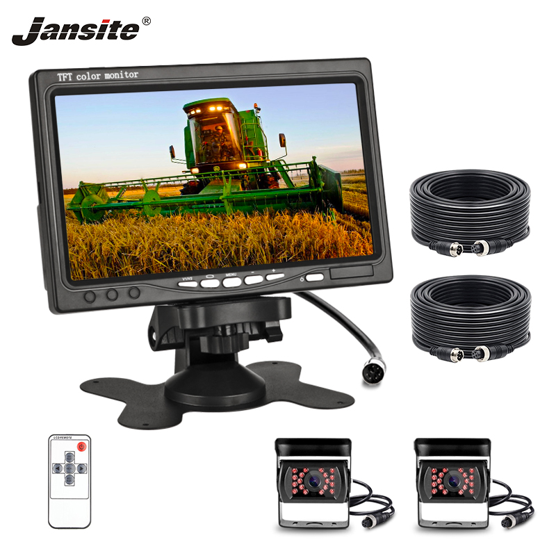 """Jansite 7"""" Car monitor TFT LCD Aviation Head Rear View Camera Parking Rearview System for Backup Reverse Cameras For Harvester
