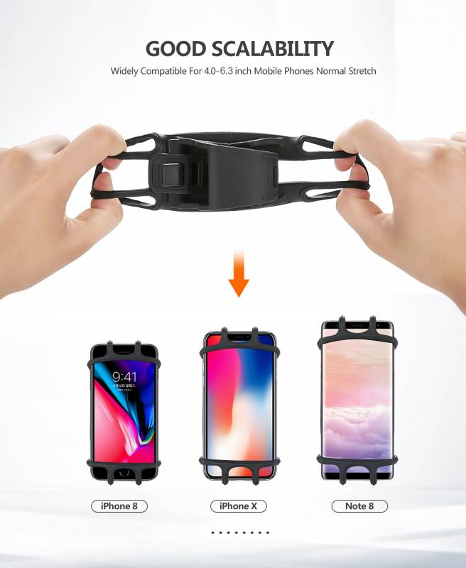 High Quality Silicone Bicycle Phone Holder For iPhone Universal Motorcycle Bike Stand GPS Bracket For 4.0-6.3inch Mobile Phone 4
