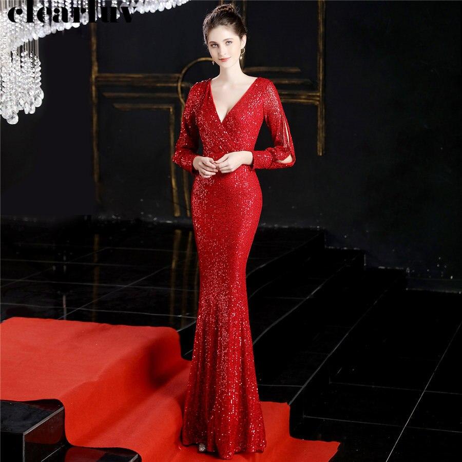 Long Sleeves Mermaid Evening Dresses Deep V-neck Women Party Dress DX240 2019 Plus Size Robe De Soiree Red Sequins Formal Dress