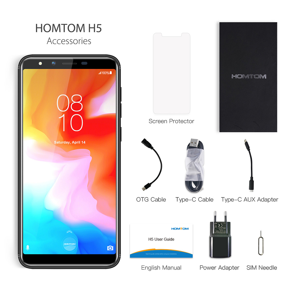 Global version HOMTOM H5 360 OS Android8.1Mobile Phone 3GB+32GB 3300mAh 5.7 Face ID 13MP MT6739 Quad Core 4G FDD LTE Smartphone - 6