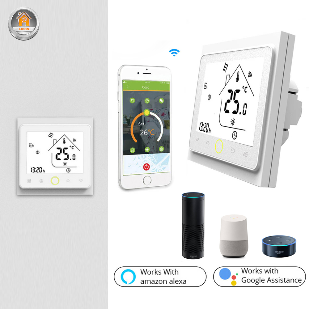 WIFI Thermostat Smart Touch Temperature Controller Programmable Google Home APP Water Electric Floor Heating Gas Boiler Works