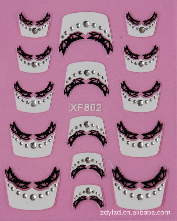 Manufacturers Direct Selling XF Nail Sticker 3D Nail Sticker French Nail Sticker XF802